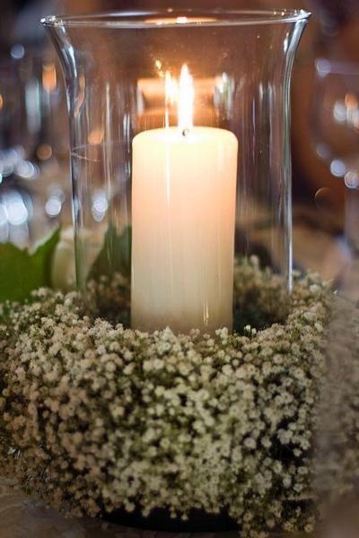 wreath of babies breath around candles | WefollowPics ...