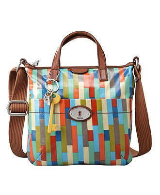 8f93b4d3b Fossil Handbag, Vintage Key-Per Coated Canvas Crossbody Bag ...
