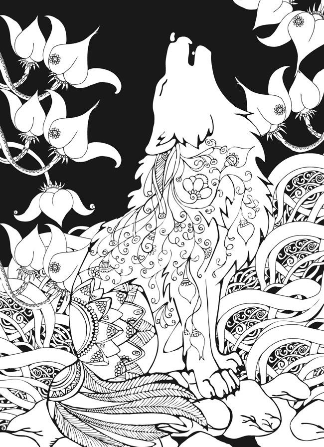 wolf coloring page for adults