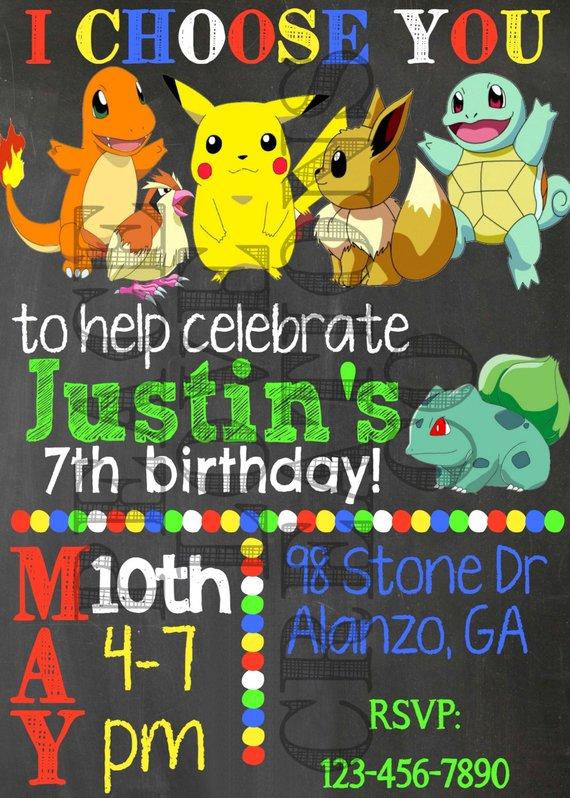Printable Pokemon Birthday Invitation Pokemon Birthday Pokemon Party Pokemon Birthday Invites