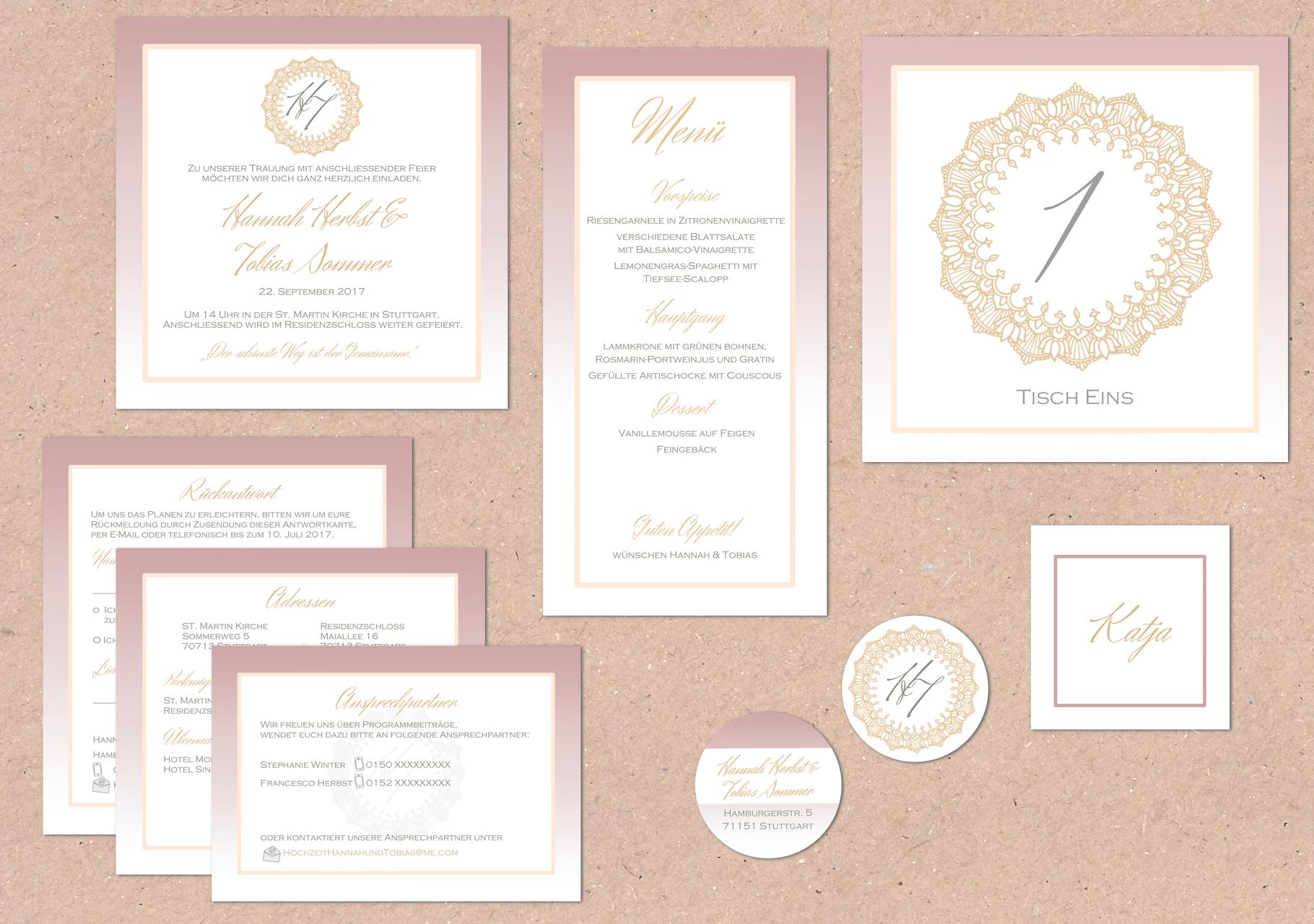 Juhu Papeterie Karlsruhe Hochzeitsset Pocketfold Einladung  Hochzeitseinladung Altrose