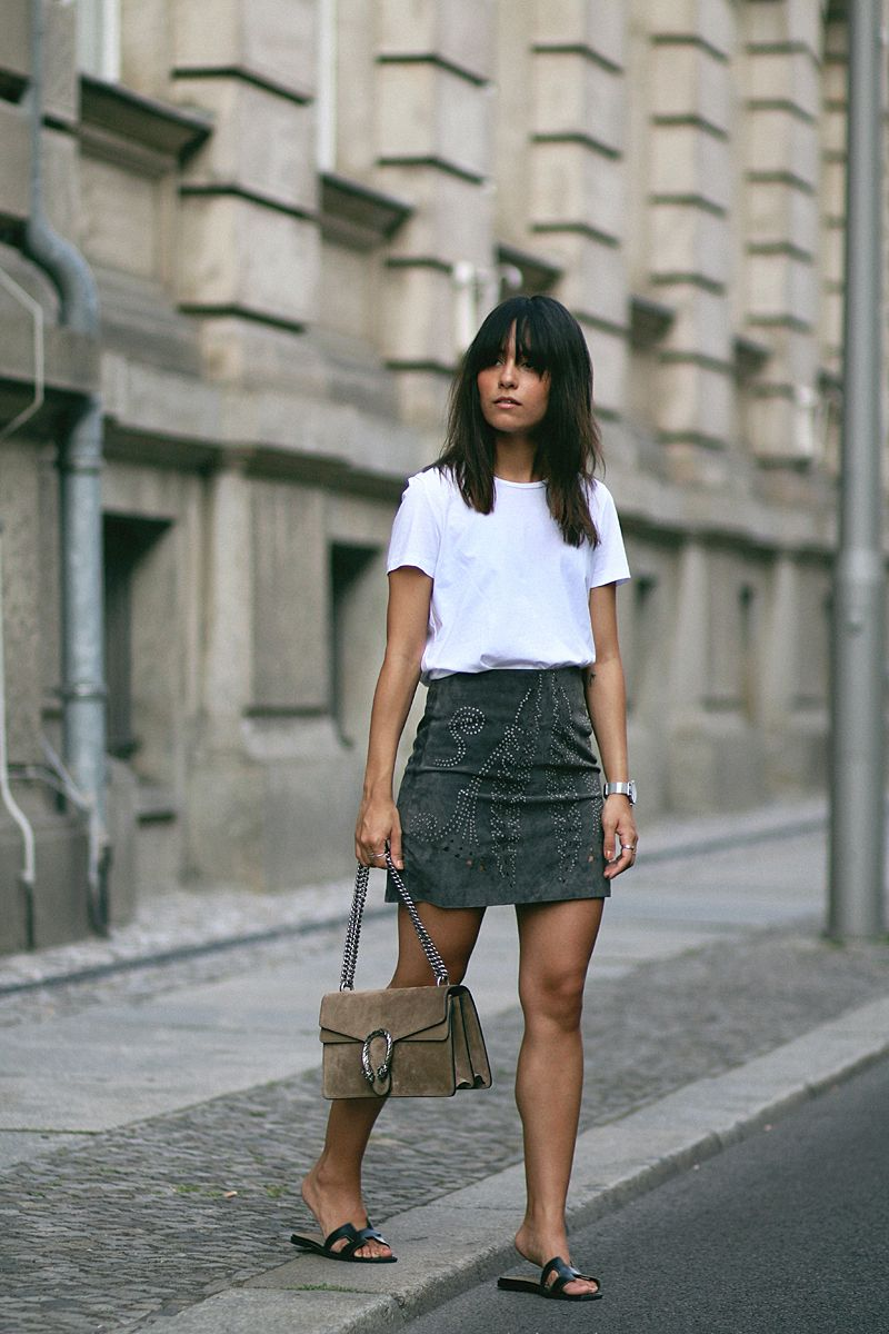 outfit: suede on suede | suede skirt, acne studios and gucci