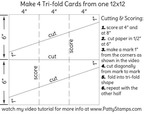 How to make a Tri-fold card using 12x12 cardstock Video Tutorial - Tri Fold Card