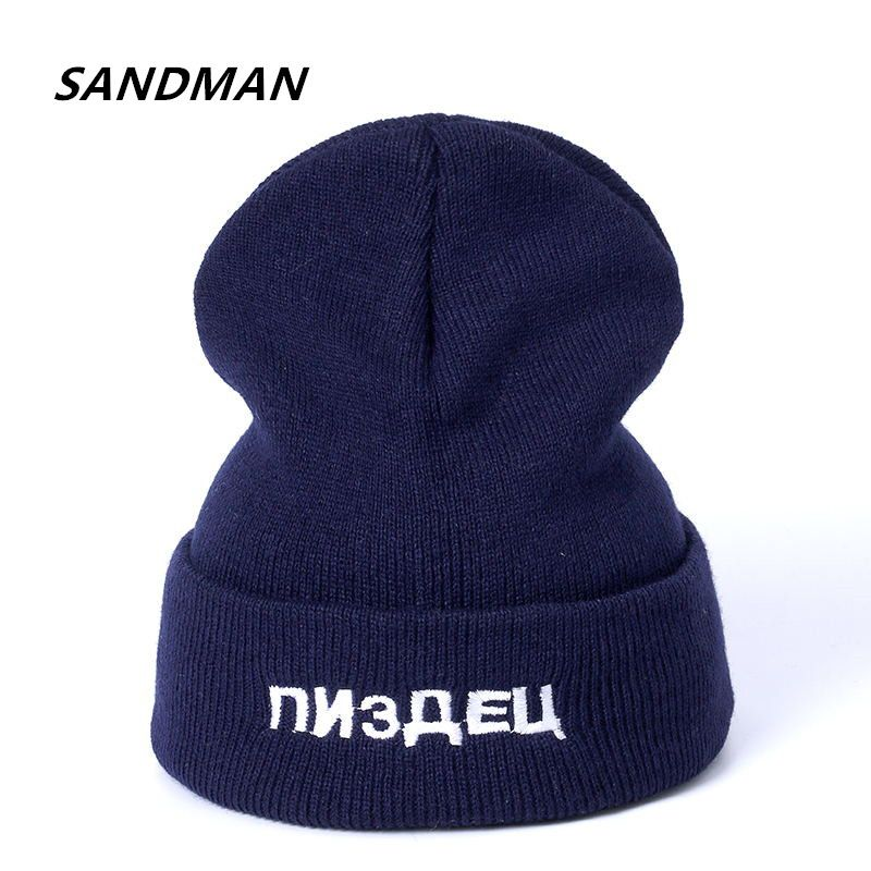 954f54d1c11 SANDMAN Russian Letter Casual Beanies for Men Women Knitted Winter Hat  Solid Color Hip-hop
