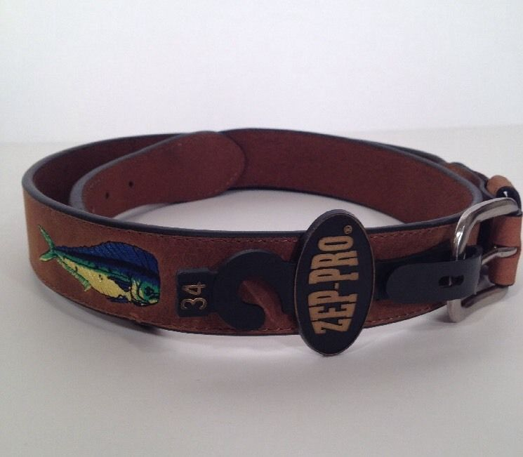 Zep Pro Leather Belt Embroidered Dolphin Fish Mens Sz 34 NWT Fishing Salt Water #ZepPro