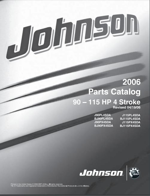 2006 Johnson Evinrude 90 115hp 4 Stroke Outboard Parts Catalog Manual Download Dsmanuals Parts Catalog Repair Manuals Outboard