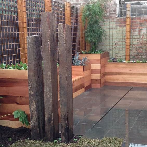 30 Small Backyard Landscaping Ideas On A Budget: Custom Built Cedar Planter Boxes And Seating For Akas