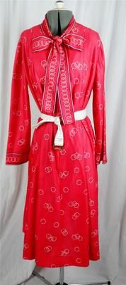 Vintage Retro 1970's pussy bow bright red pattern poly secretary dress