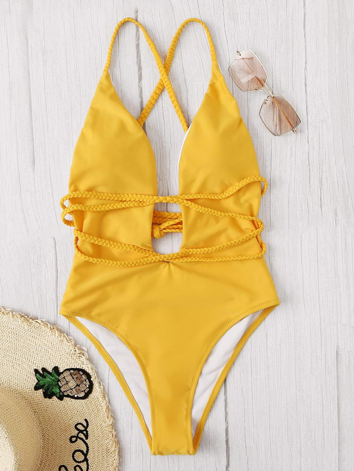 ed9c00f0e624b U-plunge Criss Cross Backless One Piece Yellow Swimsuit FREE SHIP in ...