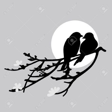 Resultado de imagen para siluetas de pajaros en ramas Más ...
