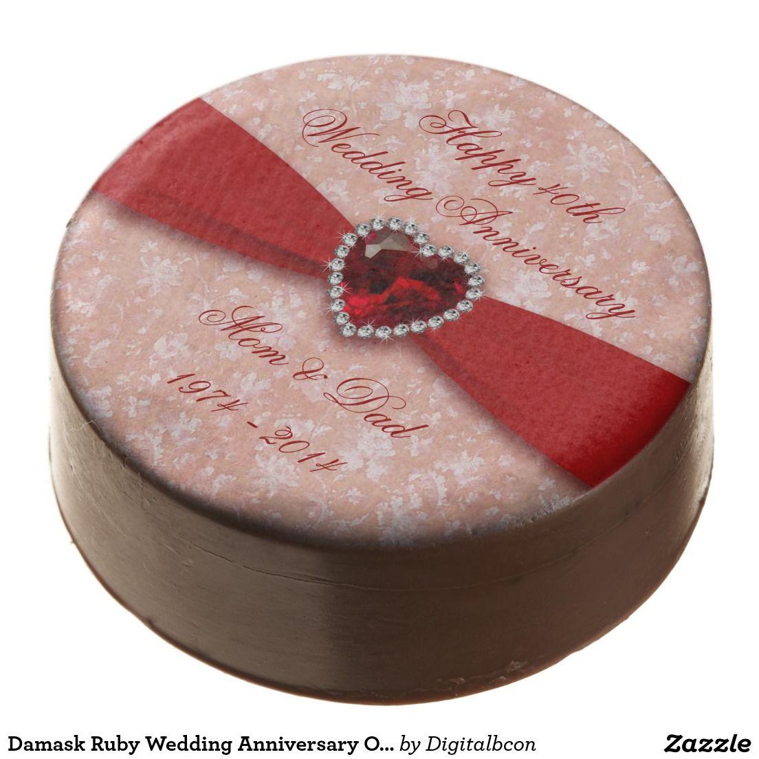 Damask Ruby Wedding Anniversary Oreo Cookies | Ruby wedding ...