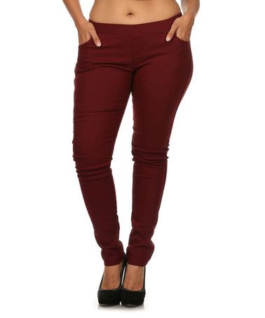 48236bcbc86b6 Look at this  zulilyfind! Burgundy Front-Pocket Jeggings - Plus ...