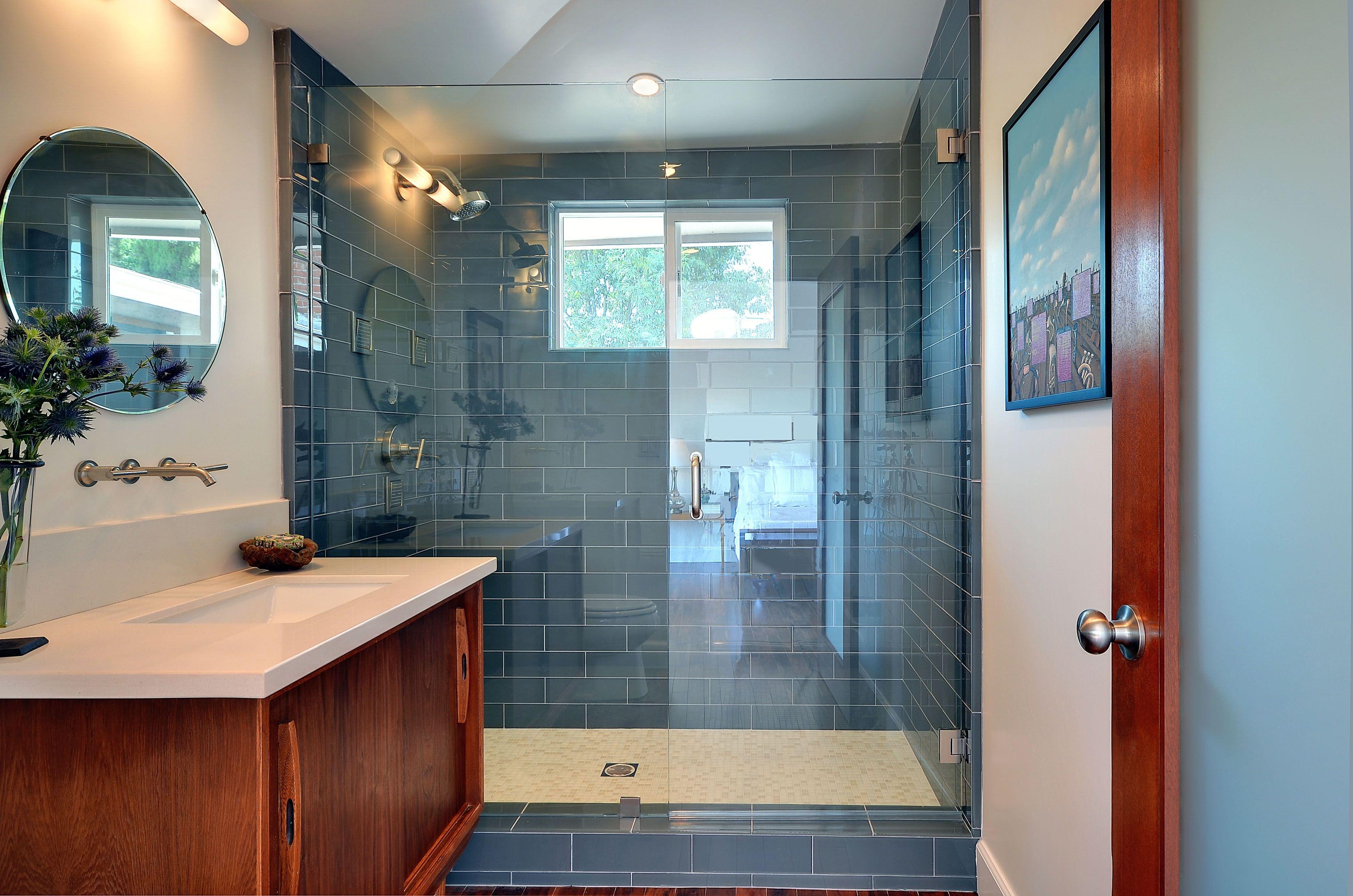 Serene bathroom features modwalls Lush glass subway tile color Fog ...