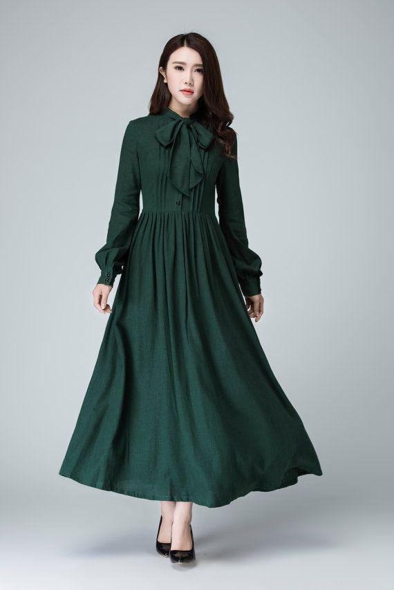 long sleeve prom dress, Green dress, shirt dress, maxi dress, linen dress, plus size dress, party dress, long dress, women dress 1455#