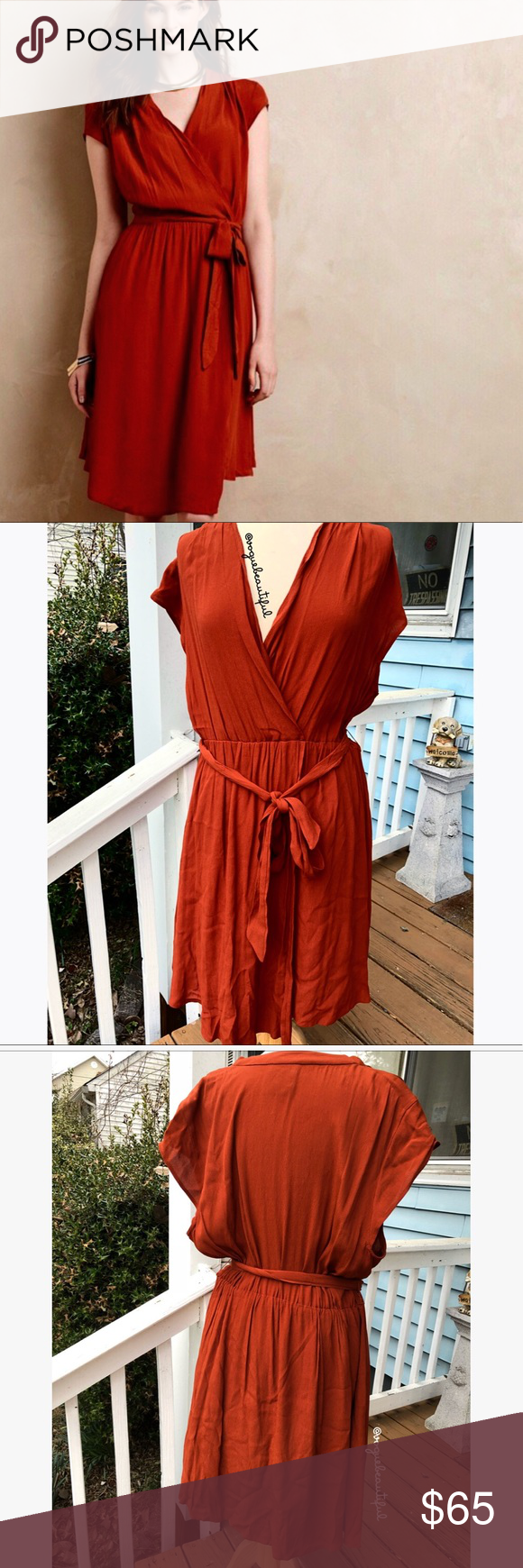 81725184d855 Maeve Noronha Wrap Dress Rust Maeve {Anthropologie} Noronha wrap dress in  rust - size