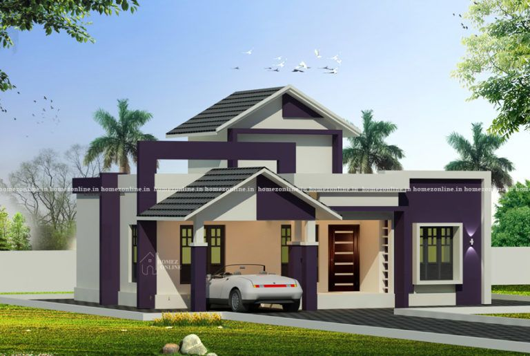 Low Cost House Design With Sloped Roof Porch Homezonline In 2020 Architect Design House Single Floor House Design House Design
