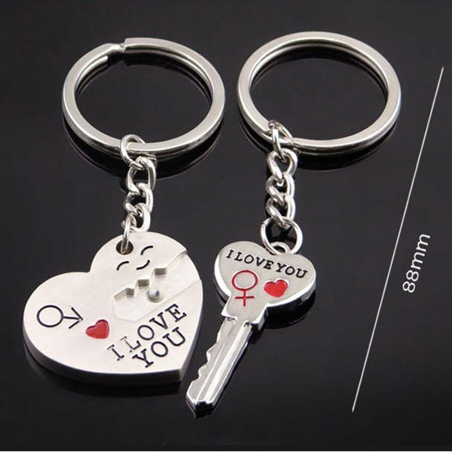 Quality Popular Key Rings Gift New 1 Pair Lover Pendant Keyring Keychain