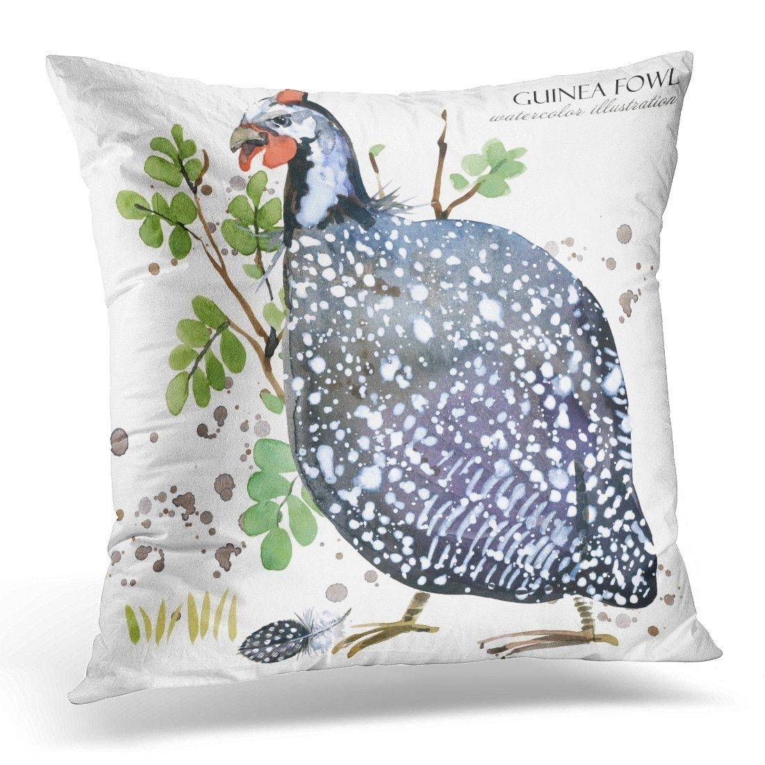 Black Africa Guinea Fowl Bird Watercolor Blue Animal Pillow Cover 16x16