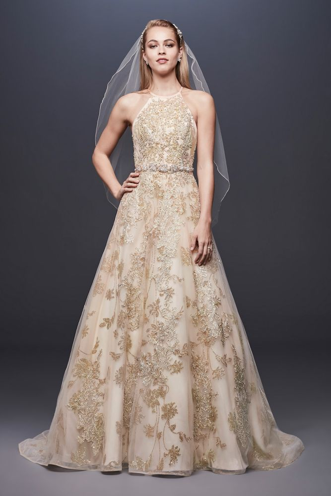 Allover Lace Applique Halter Ball Gown Style SWG801, Gold, 4 | Maybe ...