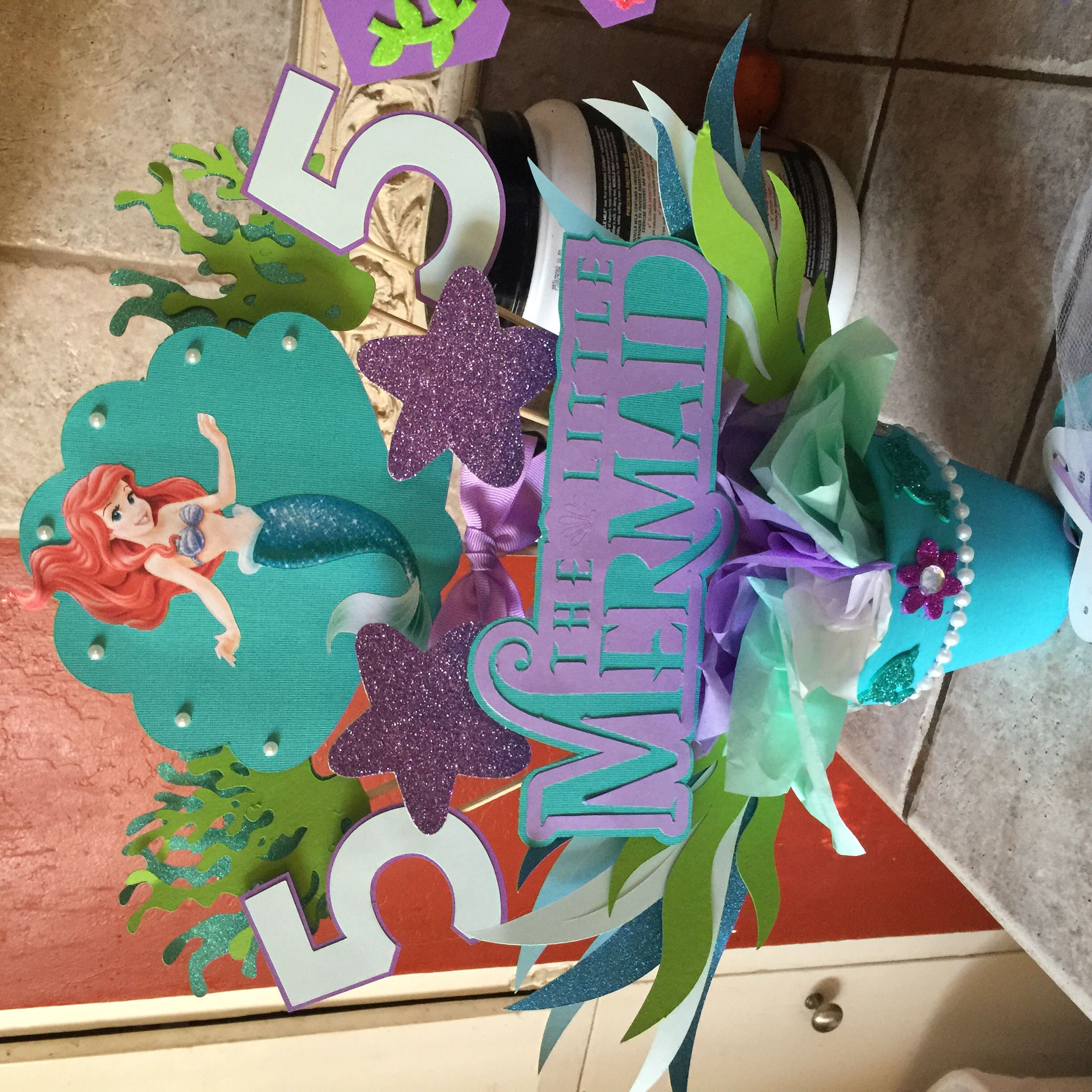 little mermaid centerpiece my baby projects pinterest mermaid centerpieces and mermaid. Black Bedroom Furniture Sets. Home Design Ideas