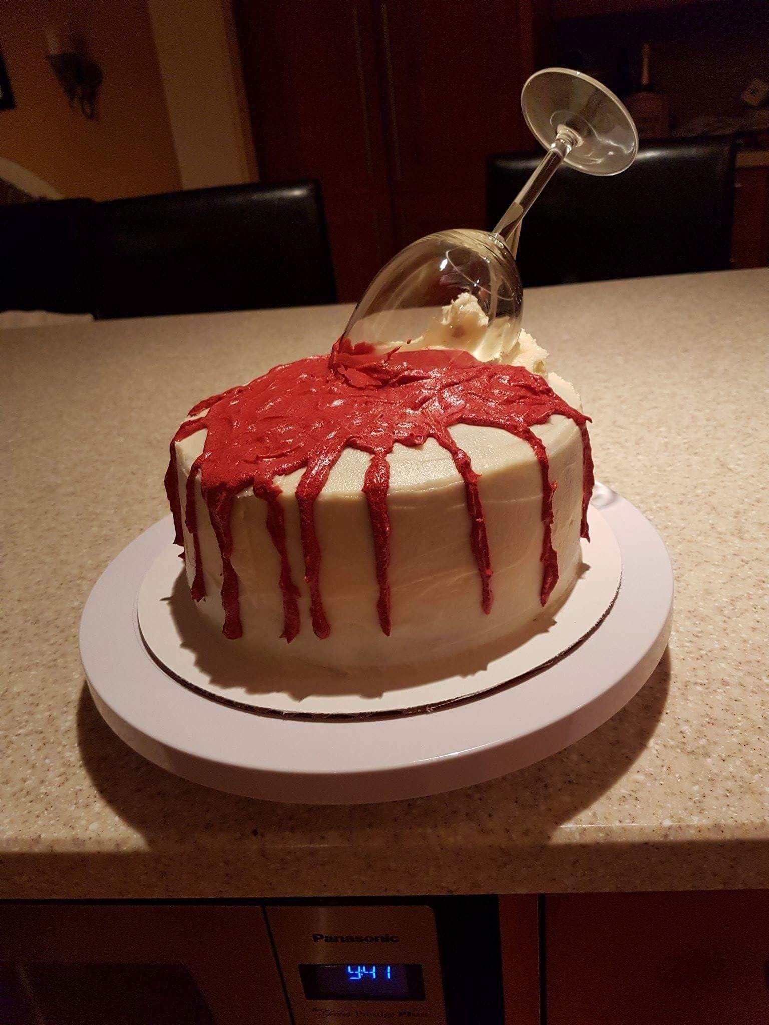 Spilled Wine Glass Cake