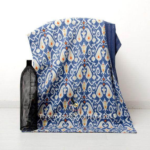 Twin Quilt, Ikat Quilt, Kantha Quilt, Twin Bedspread, Kantha Bedspread, Ikat Bedding, Twin Bed Cover, Twin Ikat Bedspread, Twin Bedding