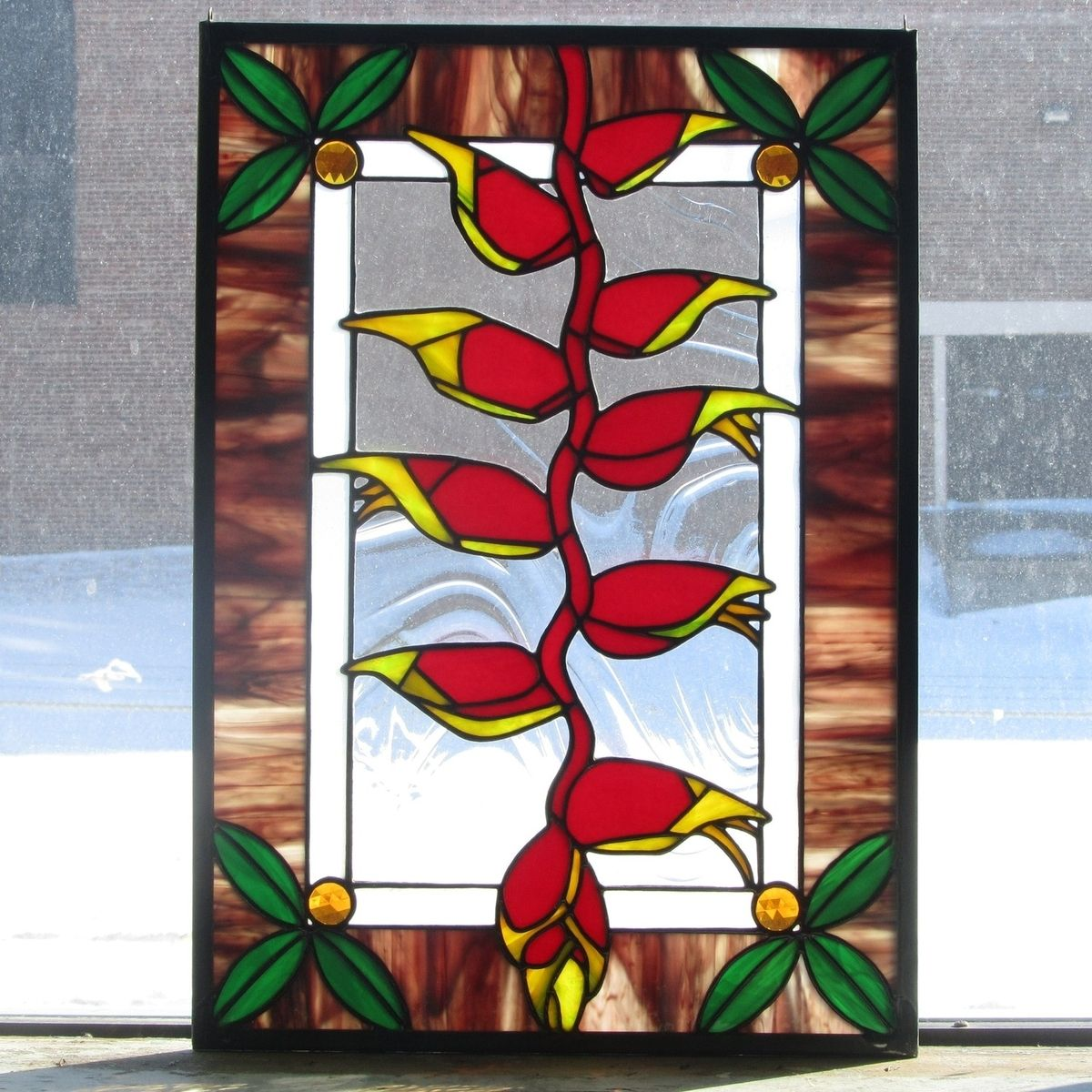 Custom Made Lobster Claw Heliconia Stained Glass Window