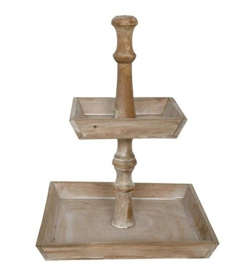 WOODEN 2 TIER PLATE IN NATURAL COLOR 28X28X38