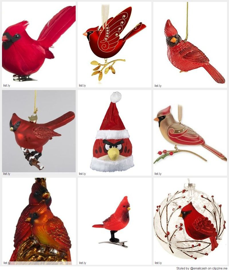 Beautiful Red Bird Christmas Ornaments add a bright splash of