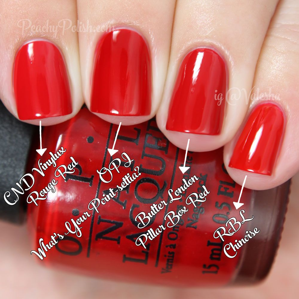 OPI What's Your Point-settia? Comparison | Holiday 2014 Gwen Stefani Collection Comparisons | Peachy Polish