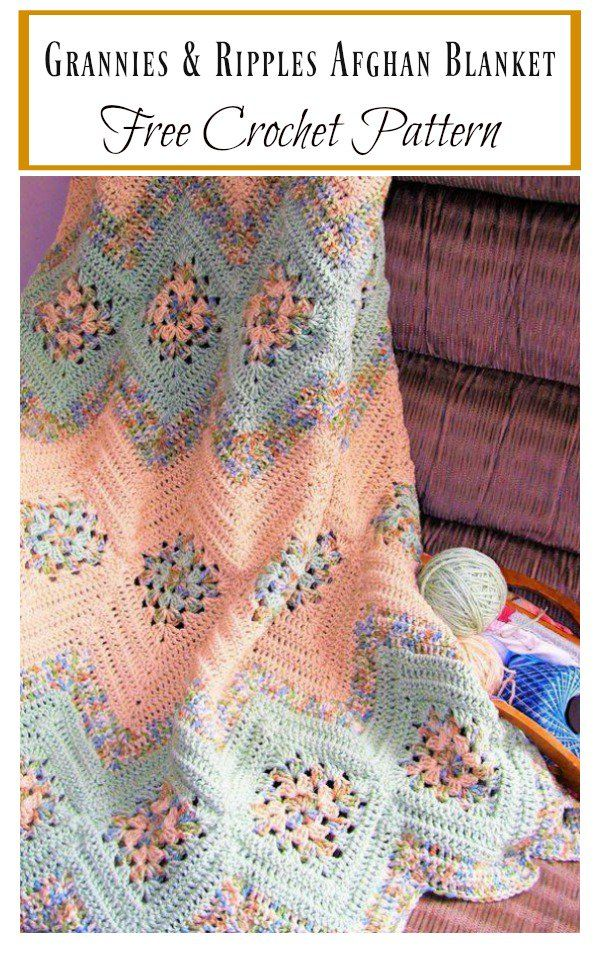 Grannies and Ripples Afghan Blanket Free Crochet Pattern | Decken ...