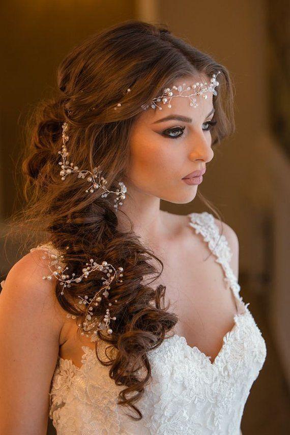 Pearl hair vine, romantic bridal headpiece, long b