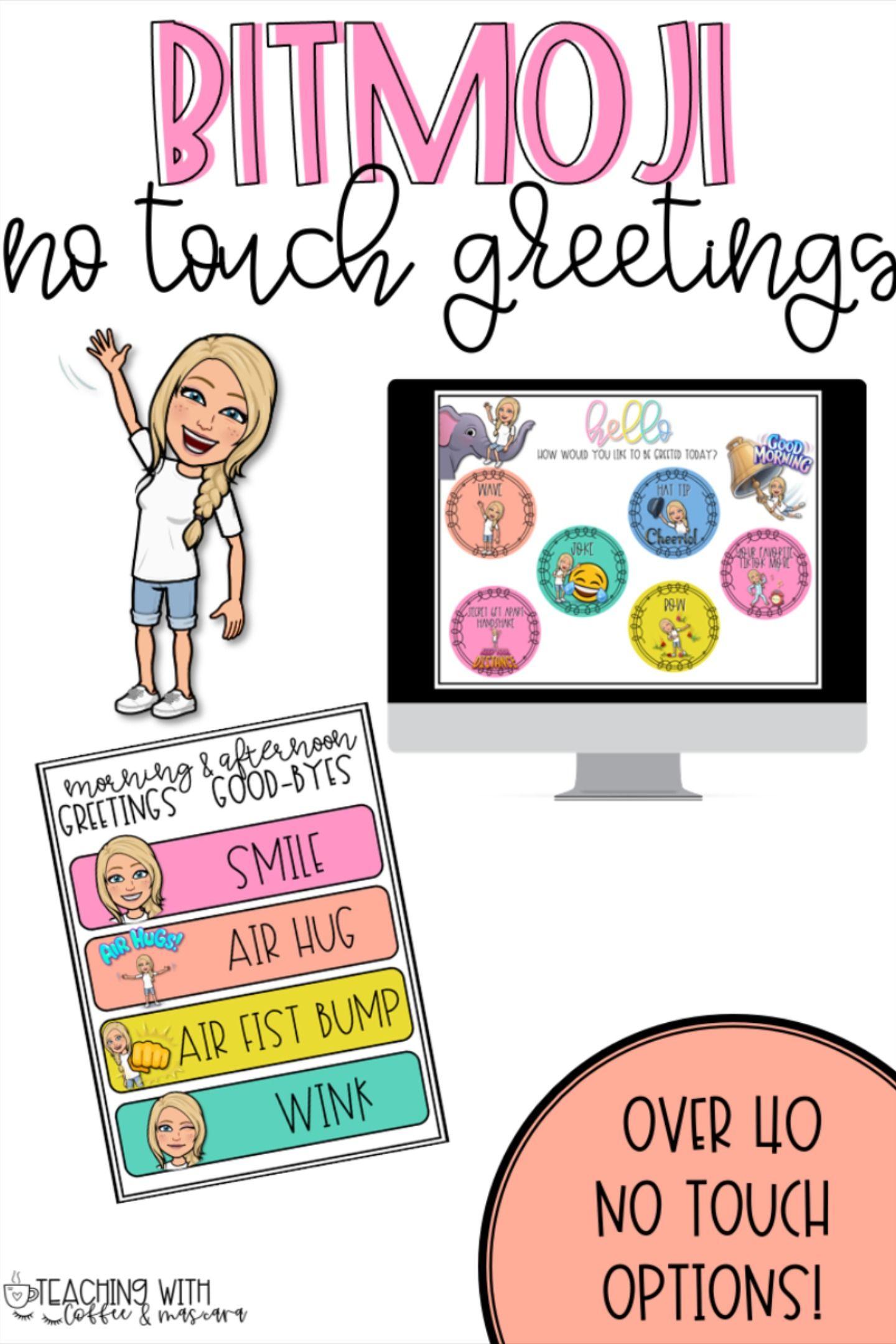 Bitmoji Touchless Greetings Classroom Meetings Greetings First Day Of School Activities [ 2160 x 1440 Pixel ]