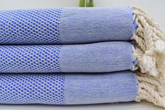 Double Face Turkish Towel Blue Towel Organic Cotton Towel 40x70