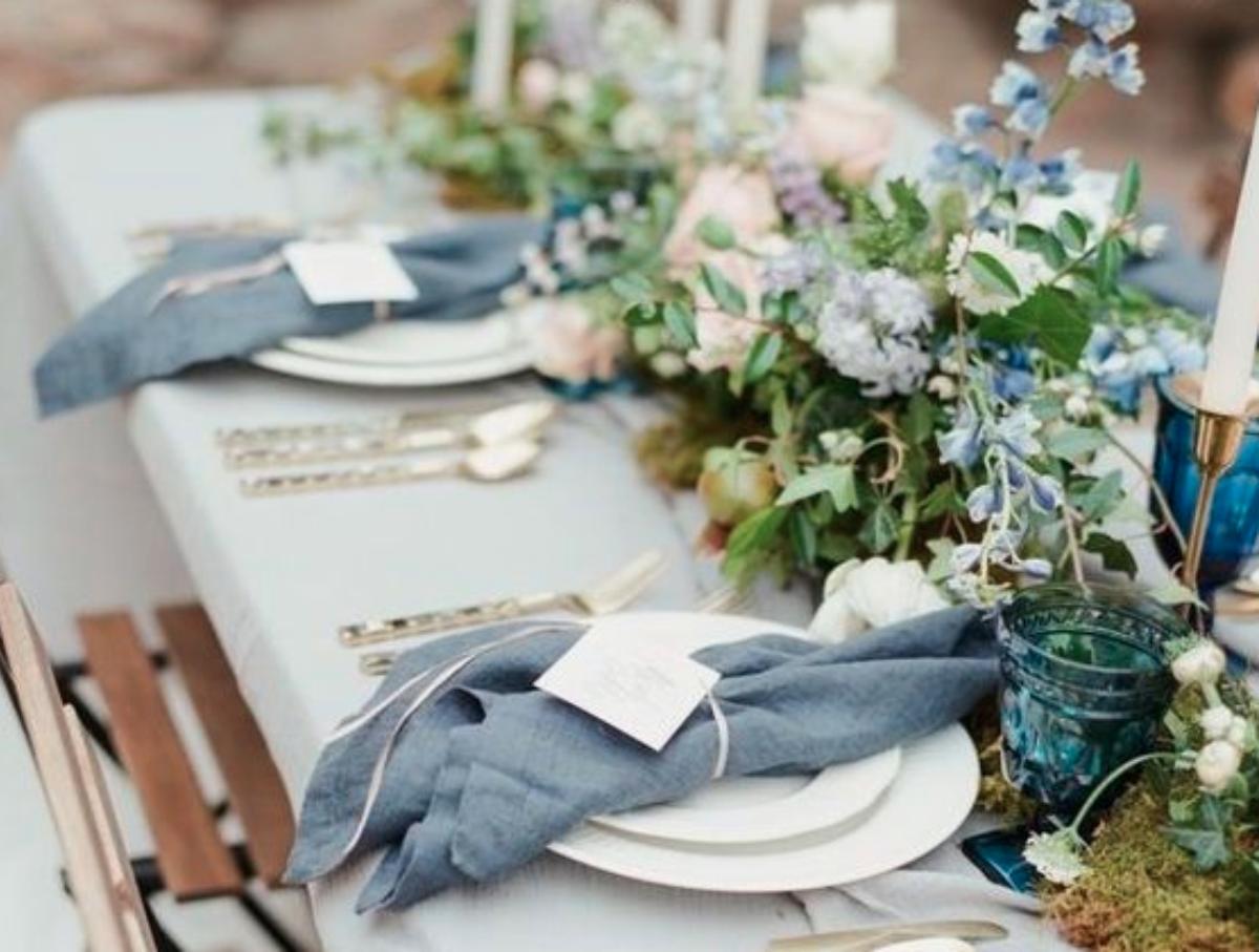 Dusty Blue Wedding Table Setting , Blue glassware , Al
