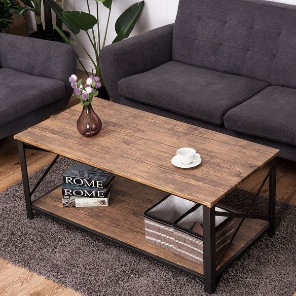 Costway Wood Coffee Table Cocktail Side Accent Table Metal Frame W - Overstock wood coffee table
