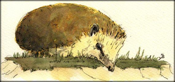 PRINT-Hedgehog in the forest Igel Hedgehog by SanMartinArtsCrafts