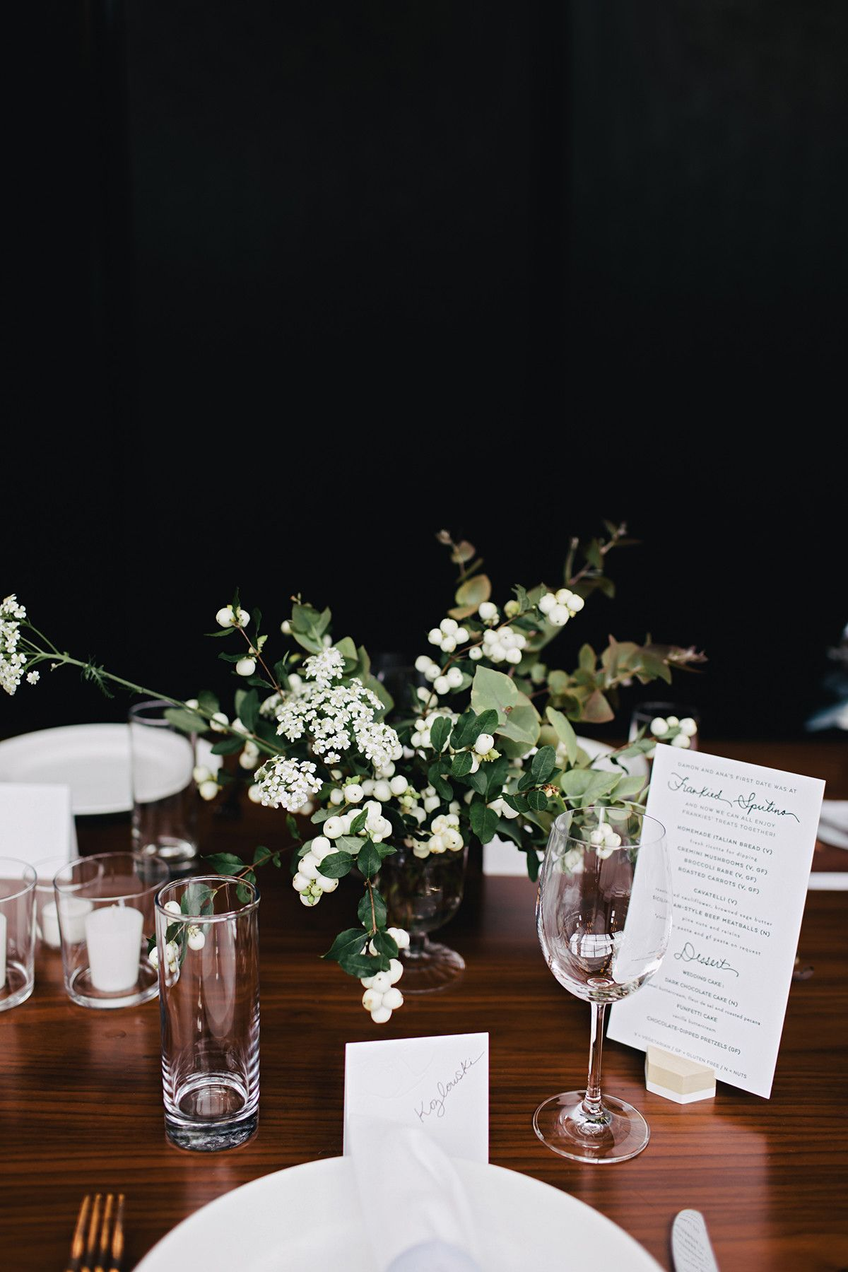 Wedding decorations venue october 2018 Wide farm tables were set with all white flowers and berries votive