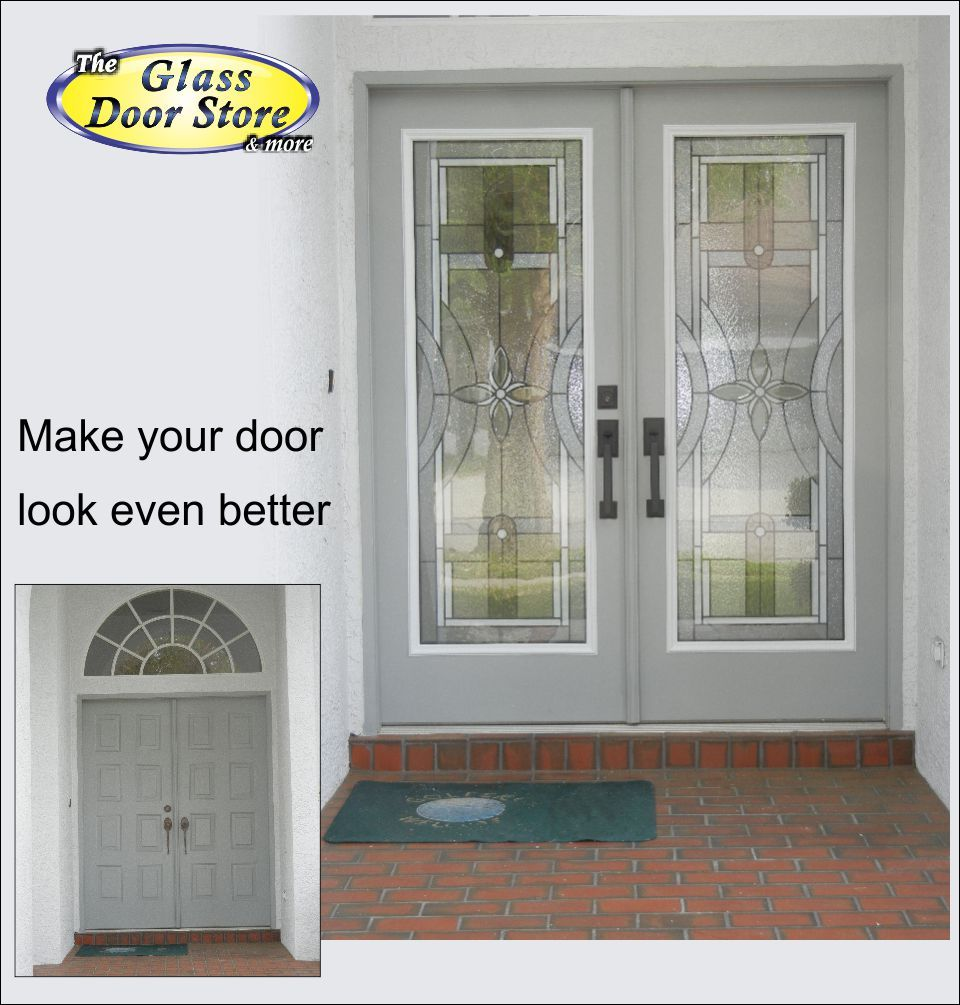 Double Doors With New Glass Door Design With White Accent Glass