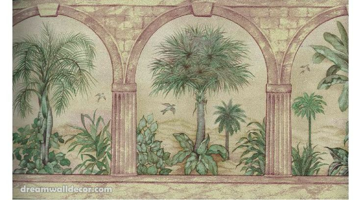 Tropical Palm Tree in Arches Wallpaper Border Tree