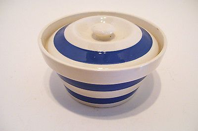 Cornish Chef Ware White and Blue Banded Sugar Bowl Staffordshire Made in England