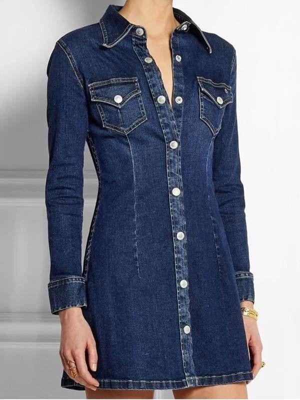 7b7342f86416 Compre Vestido chemise jeans com manga longa. Disponível nos tamanhos P, M,  G e GG. DMS Boutique