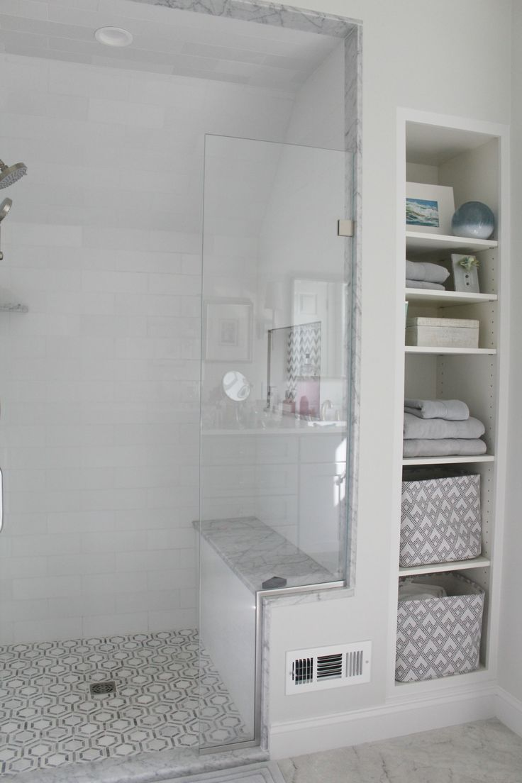 Walk In Tiled Shower With Bench And Built In Towel Storage Bench Built Shower In 2020 Shower Remodel Bathroom Remodel Shower Small Bathroom Remodel