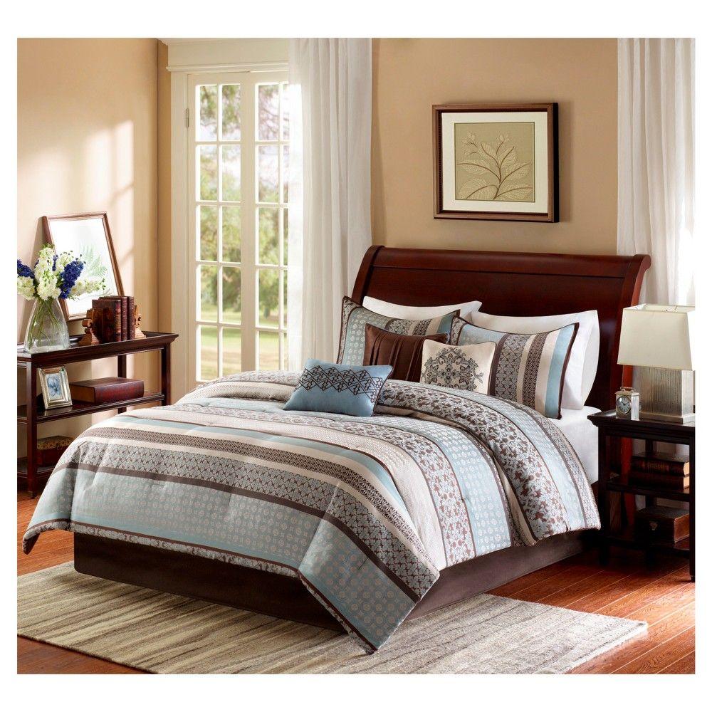 Cambridge 7 Piece Jacquard Comforter Set Blue California King