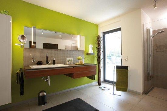 Unique Fertighaus Wohnidee Badezimmer mit gr ner Wand