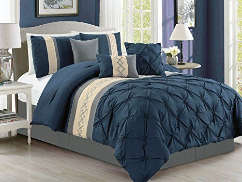 7pc Ruched Diamond Pinched Floral Embroidery Comforter Set Navy
