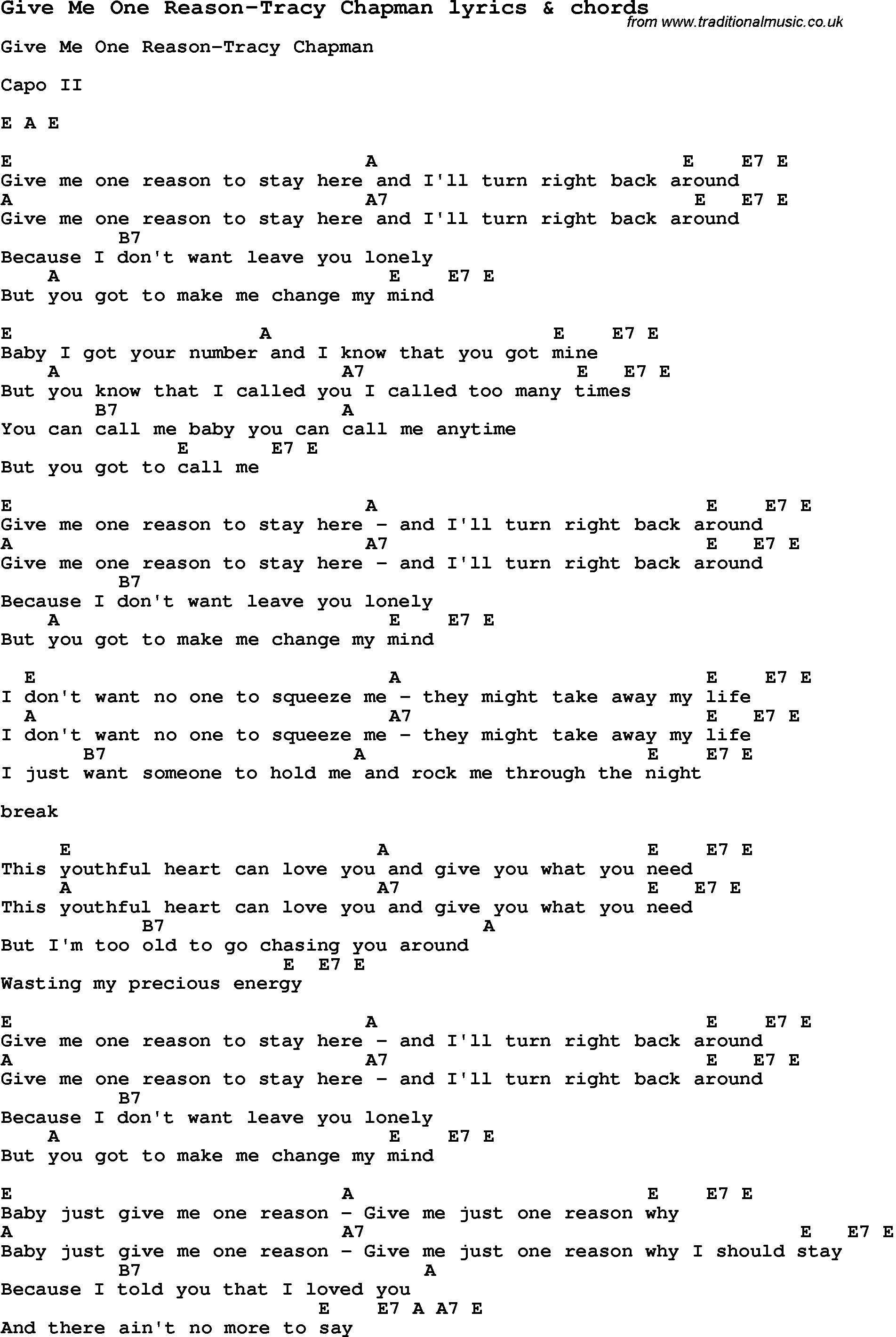 Love Song Lyrics For Give Me One Reason Tracy Chapman With Chords