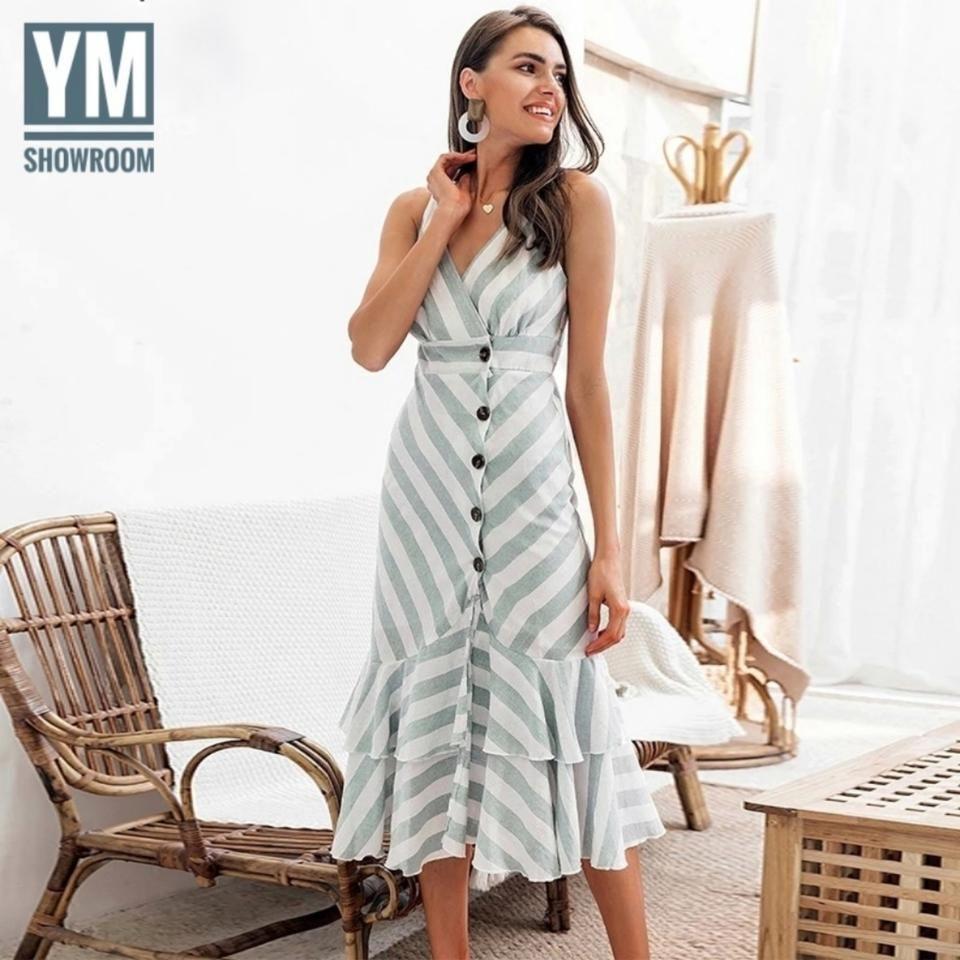 Tradesy | Mint/white Linen Blend Midi Mid-Length Night Out Dress Size 12 (L)