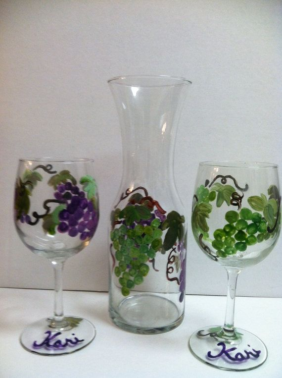 Set Of 2 Wine Glasses With Carafe Purple Green Grapes Shown Wa