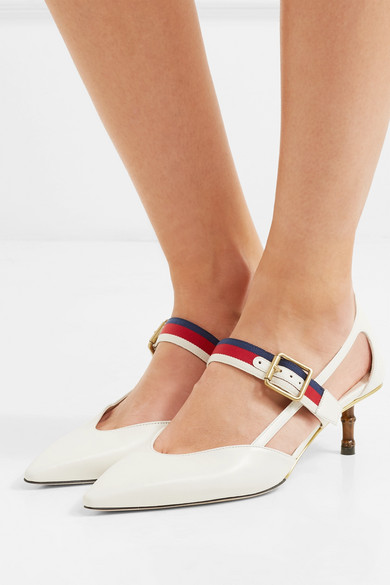 035b6afd856 Gucci - Unia Grosgrain-trimmed Leather Pumps - Ivory